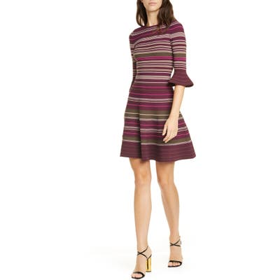 Ted Baker London Tayiny Stripe Ottoman Dress, Burgundy