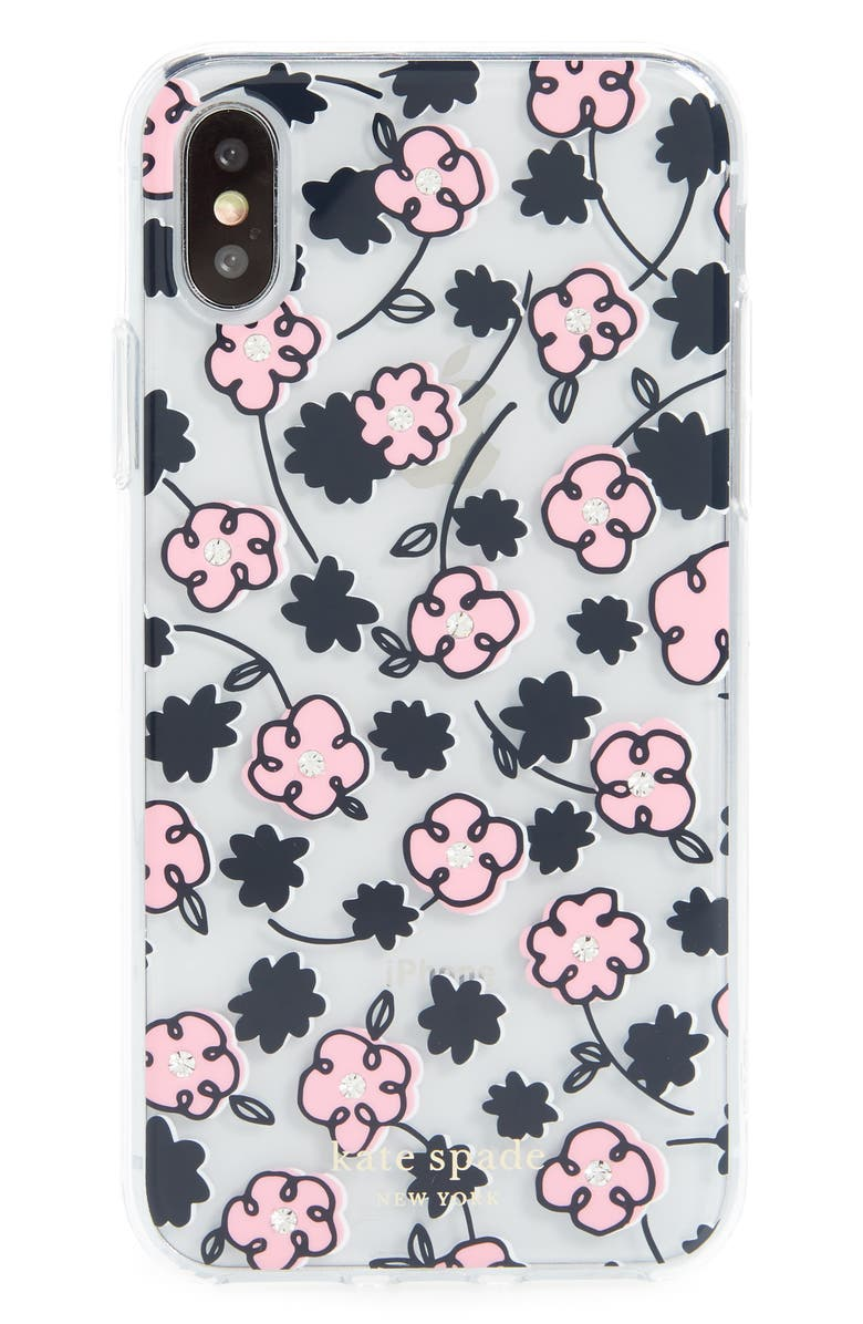 KATE SPADE NEW YORK jeweled floradoole transparent iPhone X/Xs/Xs & XR Case, Main, color, CLEAR MULTI