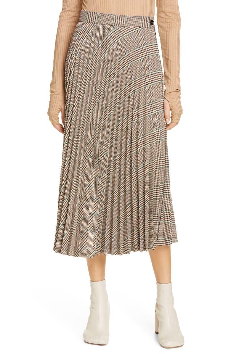 MM6 MAISON MARGIELA Plaid Pleated Midi Skirt, Main, color, 250