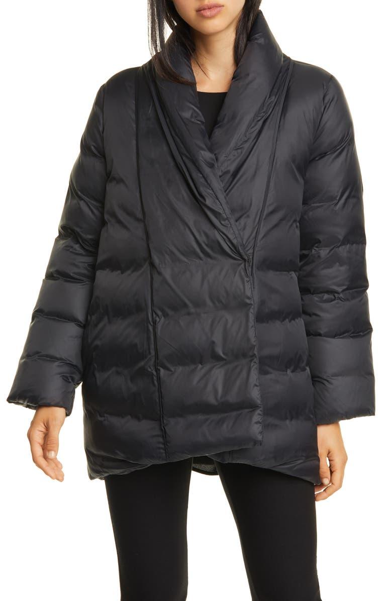 EILEEN FISHER Shawl Collar Down Coat, Main, color, 001