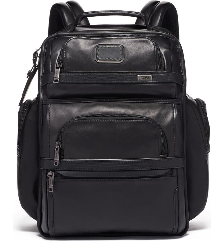 TUMI Alpha 3 Collection Leather Laptop Brief Pack, Main, color, BLACK