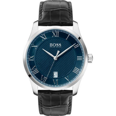 Boss Master Classic Leather Strap Watch, 41Mm