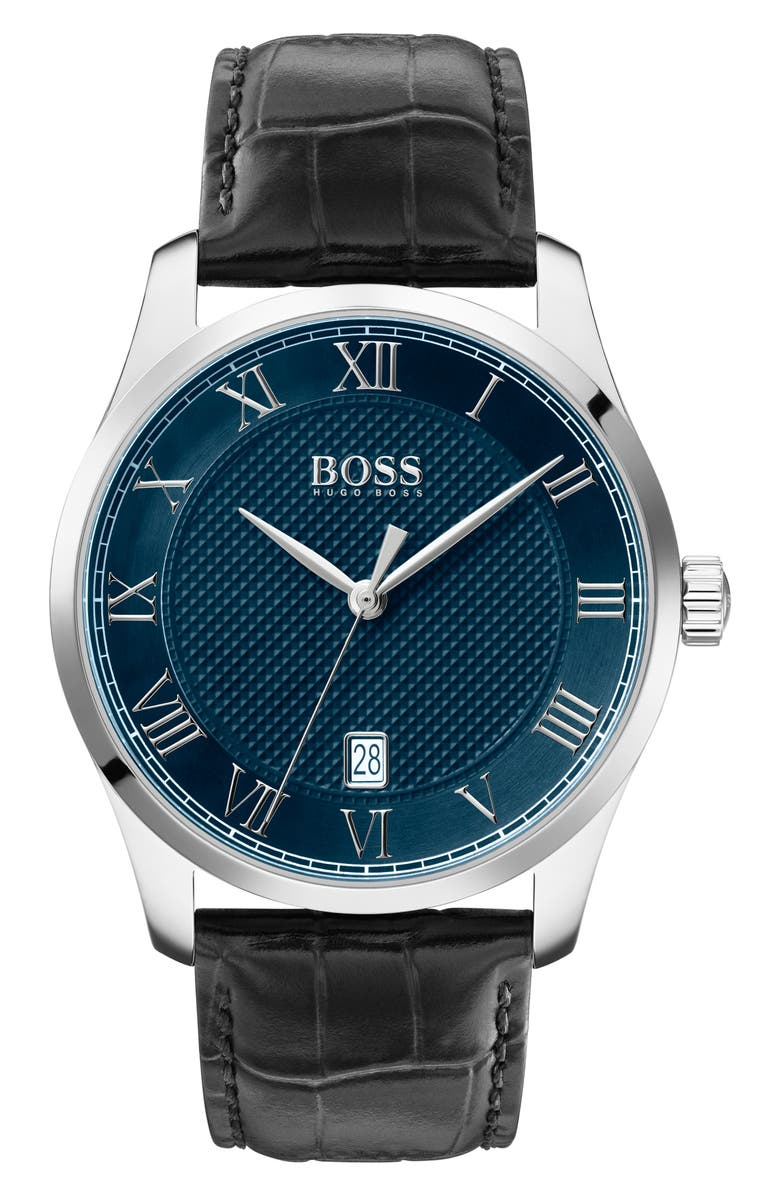 BOSS Master Classic Leather Strap Watch, 41mm, Main, color, BLACK/ BLUE/ SILVER