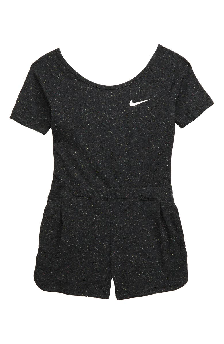 NIKE Short Knit Romper, Main, color, BLACK HEATHER/ WHITE