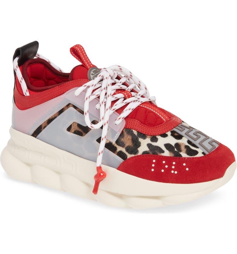 VERSACE Genuine Calf Hair Chain Reaction Sneaker, Main, color, POSTER RED/ CAMEL CALF HAIR