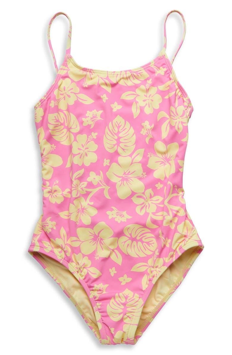 HOBIE Aloha Floral One-Piece Swimsuit, Main, color, PINK