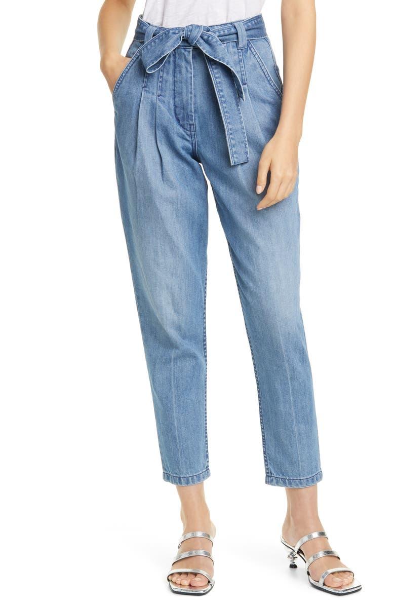 LA VIE REBECCA TAYLOR Tie Paperbag Waist Ankle Jeans, Main, color, COPINE WASH