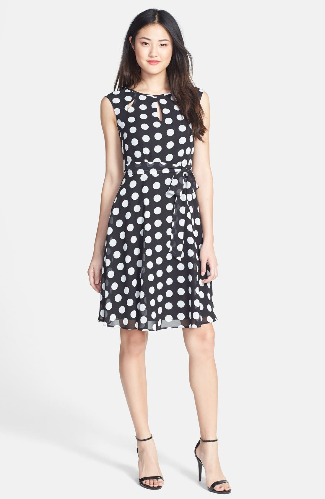 Spotted Fit & Flare Dress, Main, color, 001
