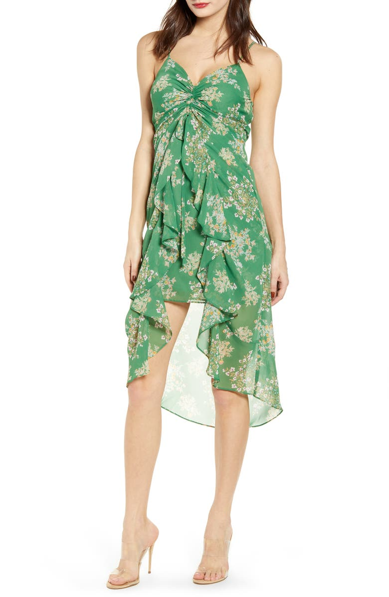 J.O.A. Sleeveless Ruched High/Low Dress, Main, color, GREEN FLORAL