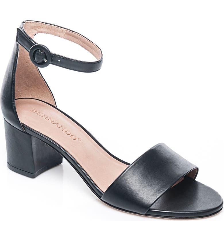 BERNARDO Belinda Ankle Strap Sandal, Main, color, BLACK LEATHER