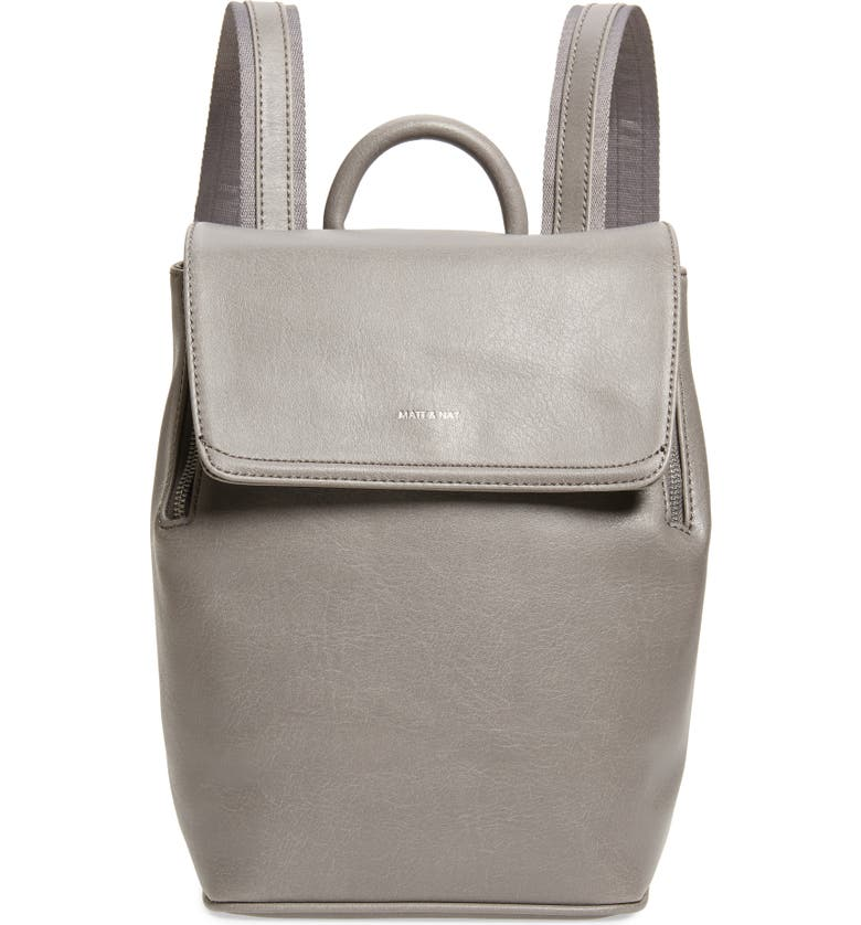 MATT & NAT Mini Fabi Faux Leather Backpack, Main, color, SHADOW
