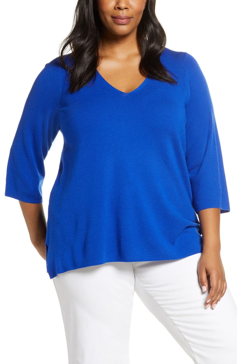 Eileen Fisher V Neck Merino Wool Top Plus Size