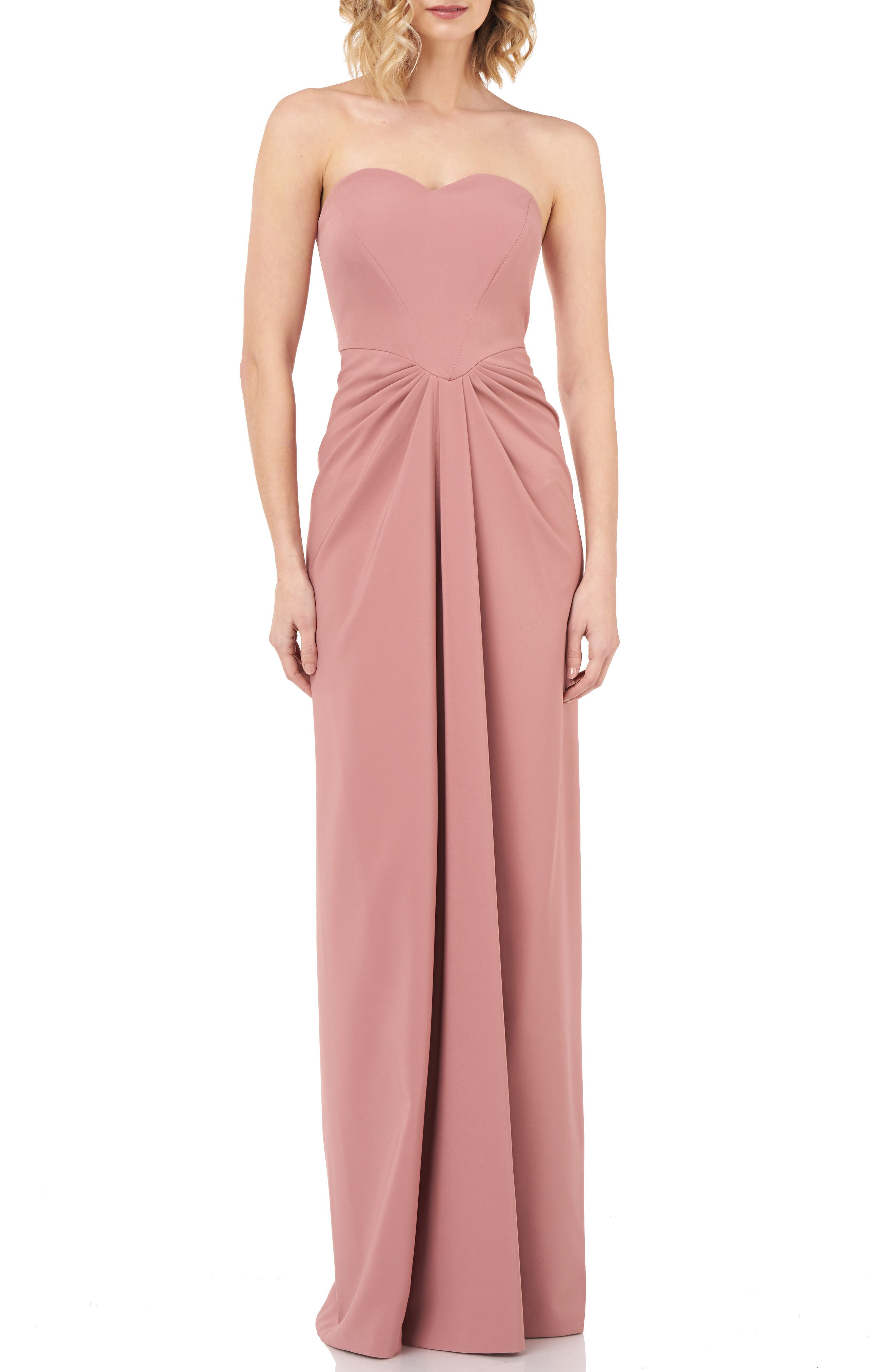 Kay Unger Strapless Gathered Gown, Pink
