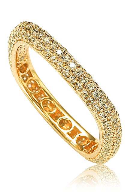 Image of Suzy Levian 14K Yellow Gold Plated Sterling Silver Square Stackable Eternity Band