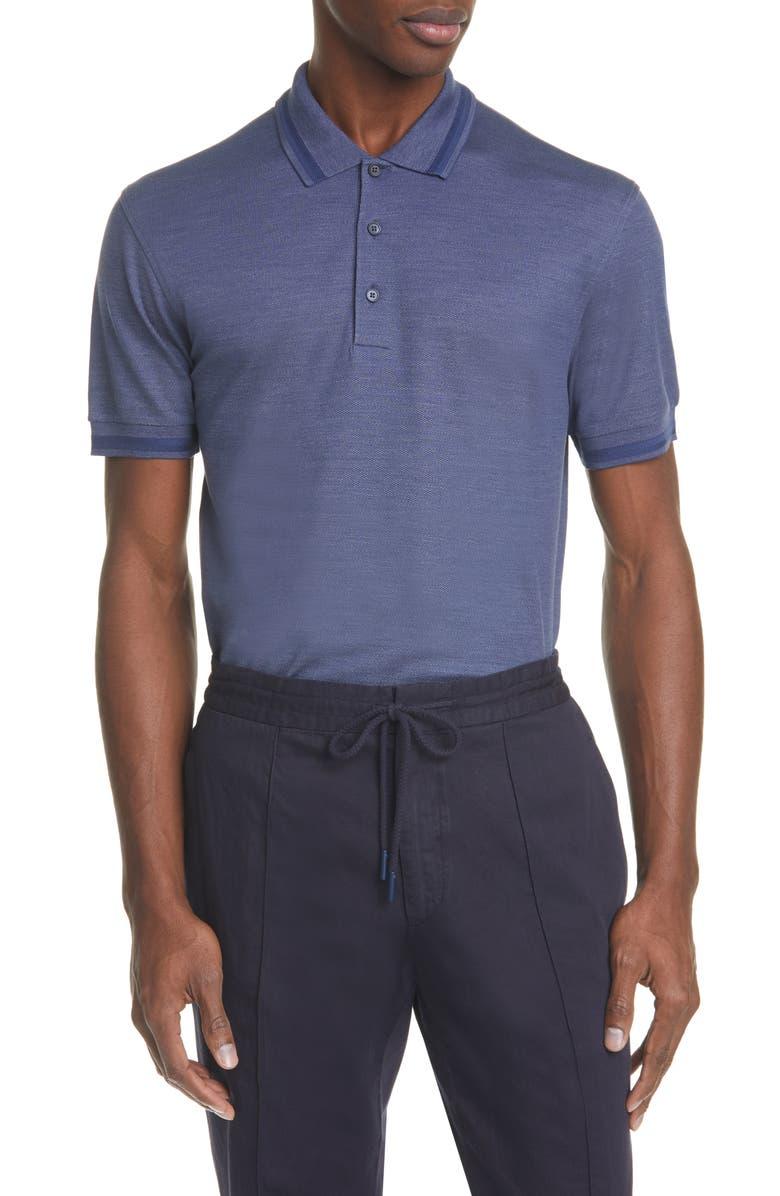 ERMENEGILDO ZEGNA Cotton & Silk Polo Shirt, Main, color, BLUE