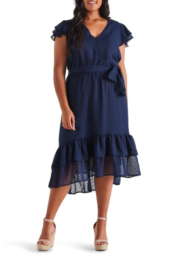 Estelle Dresses GLIMMER CLIP DOT CHIFFON MIDI DRESS