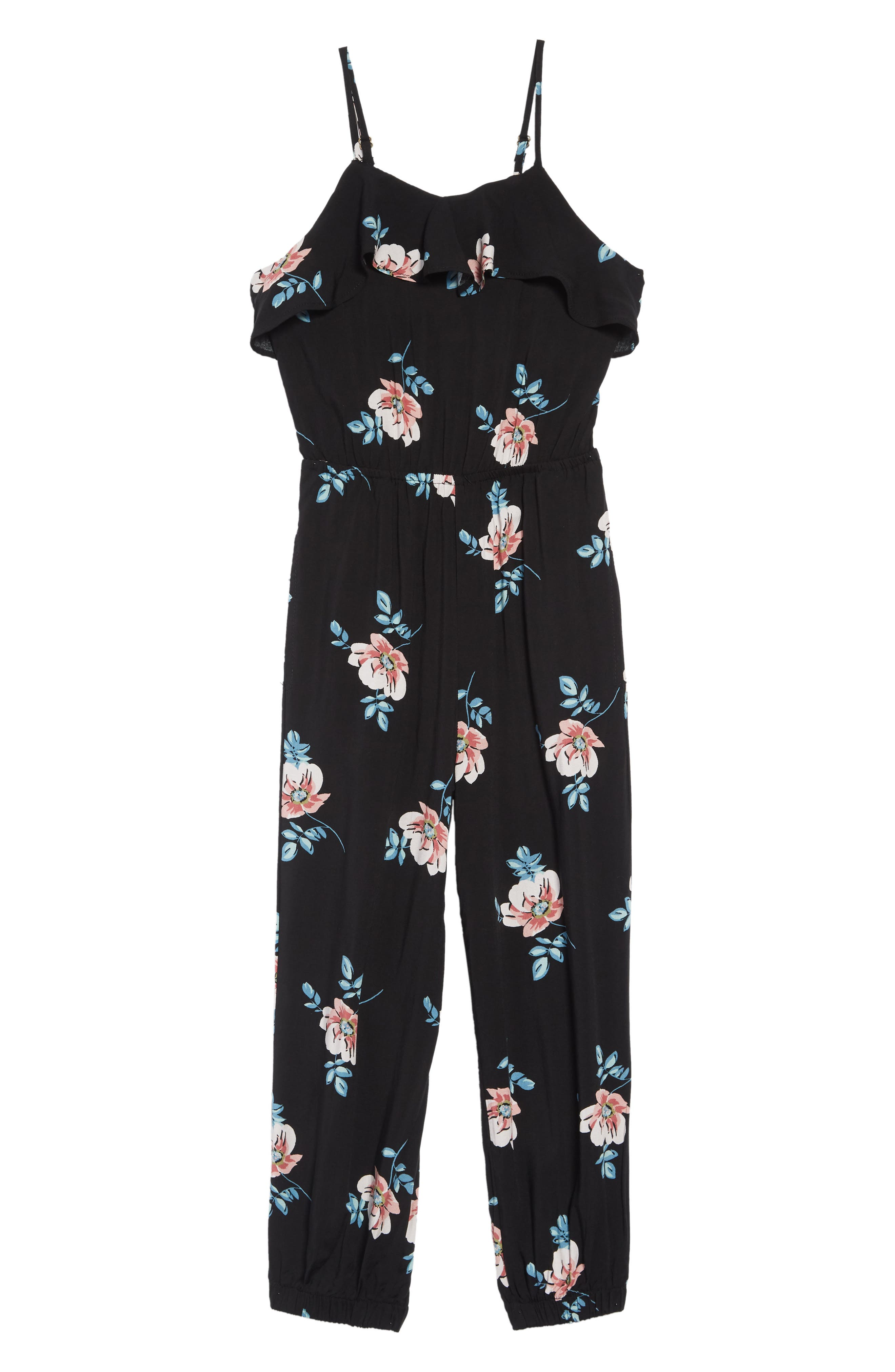 ,                             Floral Print Jumpsuit,                             Main thumbnail 1, color,                             BLACK