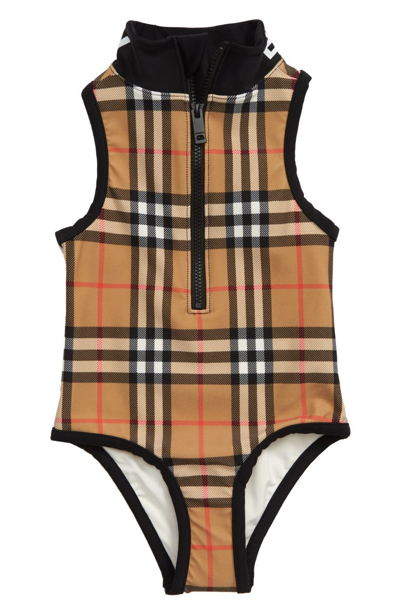BURBERRY Siera Check One-Piece Swimsuit, Main, color, ANTIQUE YELLOW