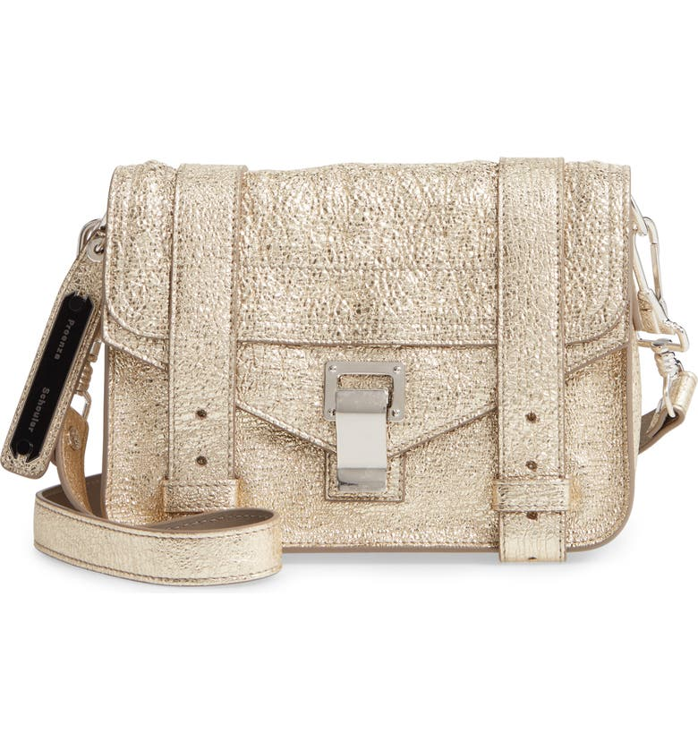 PROENZA SCHOULER Mini PS1 Metallic Leather Crossbody Bag, Main, color, LIGHT GOLD