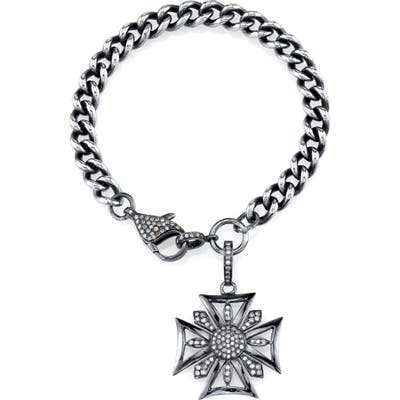 Sheryl Lowe Diamond Maltese Cross Charm Bracelet