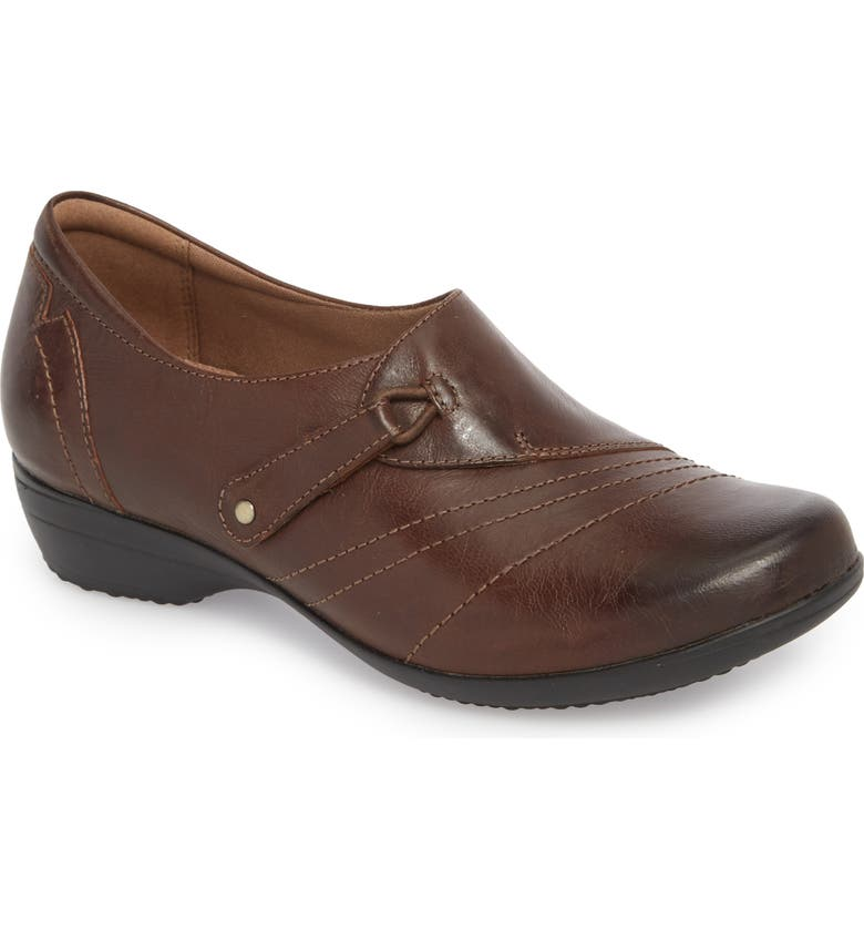 DANSKO Franny Loafer, Main, color, CHOCOLATE BURNISHED LEATHER