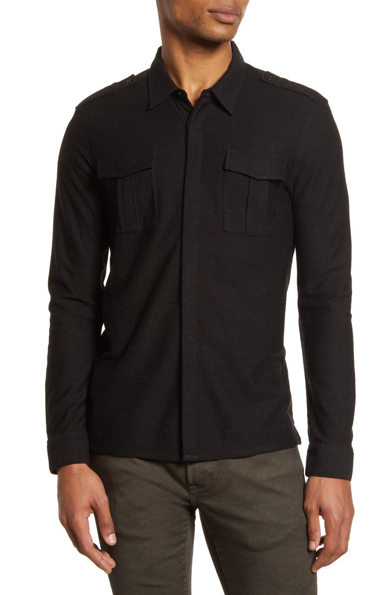 JOHN VARVATOS Star USA Easy Fit Knit Button-Up Shirt, Main, color, ESPRESSO