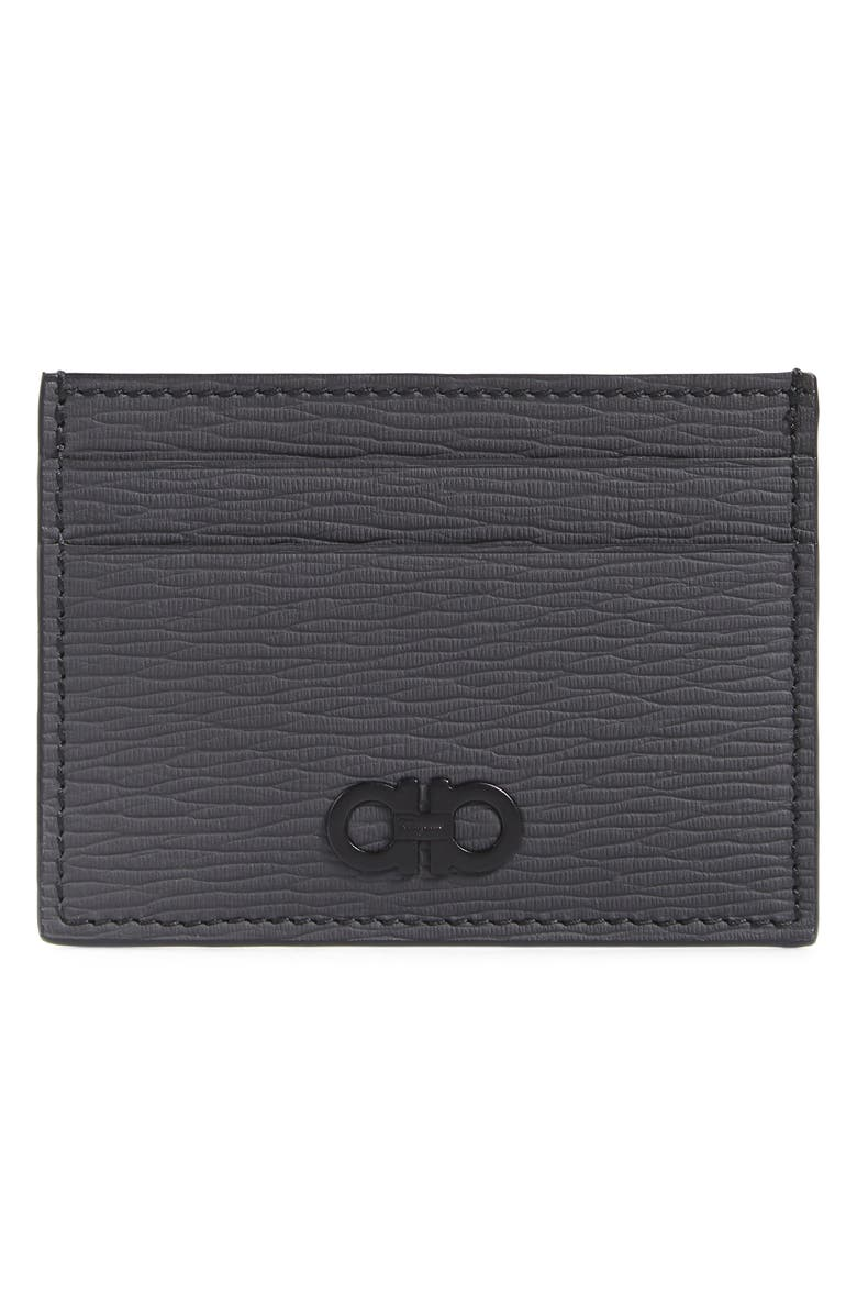 SALVATORE FERRAGAMO Savlatore Ferragamo Revival Leather Card Case, Main, color, LEAD GREY
