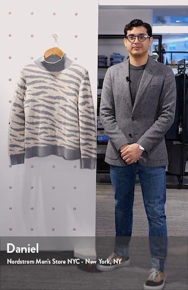 Animal Print Turtleneck Merino Wool & Cotton Blend Sweater, sales video thumbnail