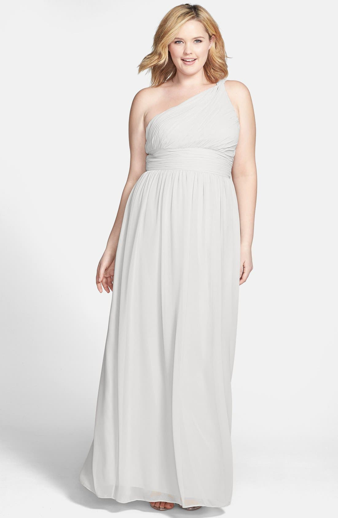 ,                             'Rachel' Ruched One-Shoulder Chiffon Gown,                             Main thumbnail 19, color,                             030