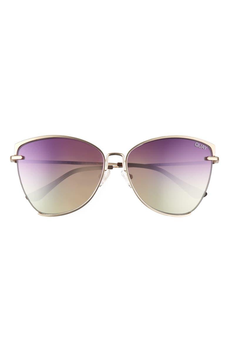QUAY AUSTRALIA Dusk to Dawn 60mm Sunglasses, Main, color, GOLD/ PURPLE PINK YELLOW