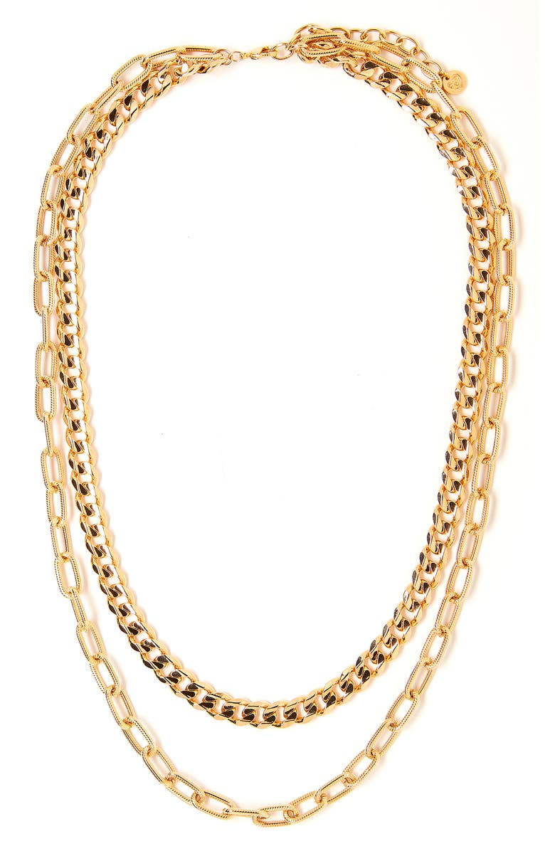 TESS + TRICIA Quinn Layered Necklace, Main, color, GOLD