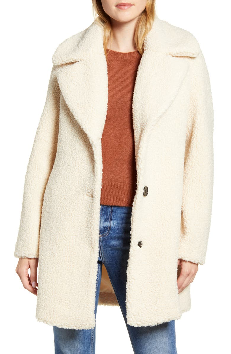 SAM EDELMAN Faux Fur Teddy Coat, Main, color, BEIGE