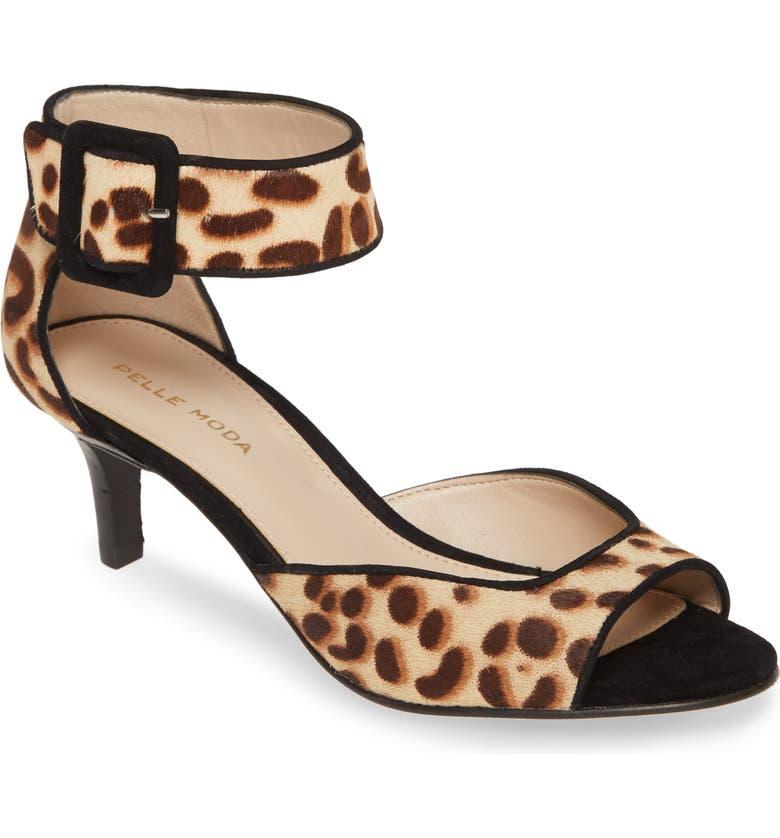 PELLE MODA 'Berlin' Ankle Strap Genuine Calf Hair Sandal, Main, color, LEOPARD PRINT CALF HAIR