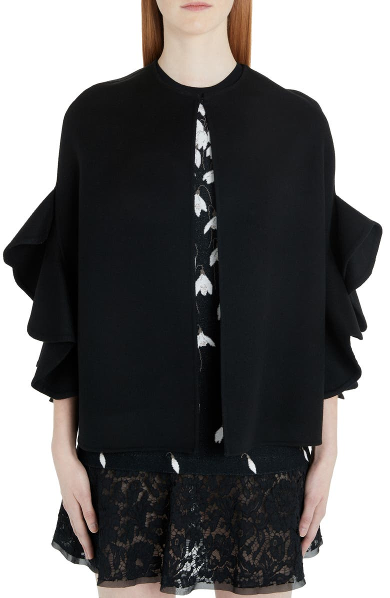 VALENTINO Ruffled Wool & Cashmere Cape, Main, color, 0NO-BLACK