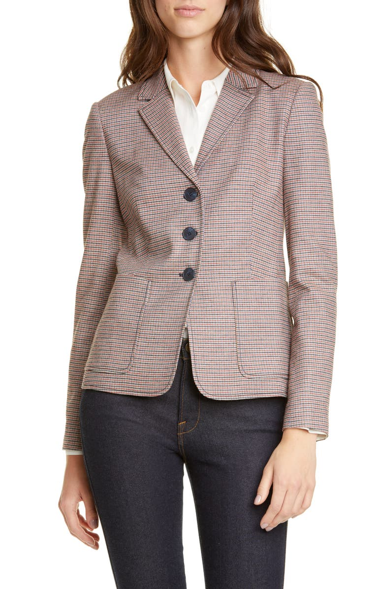 NORDSTROM SIGNATURE Check Patch Pocket Blazer, Main, color, 001
