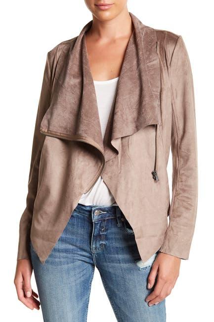 Image of Vigoss Asymmetrical Faux Suede Wrap Jacket