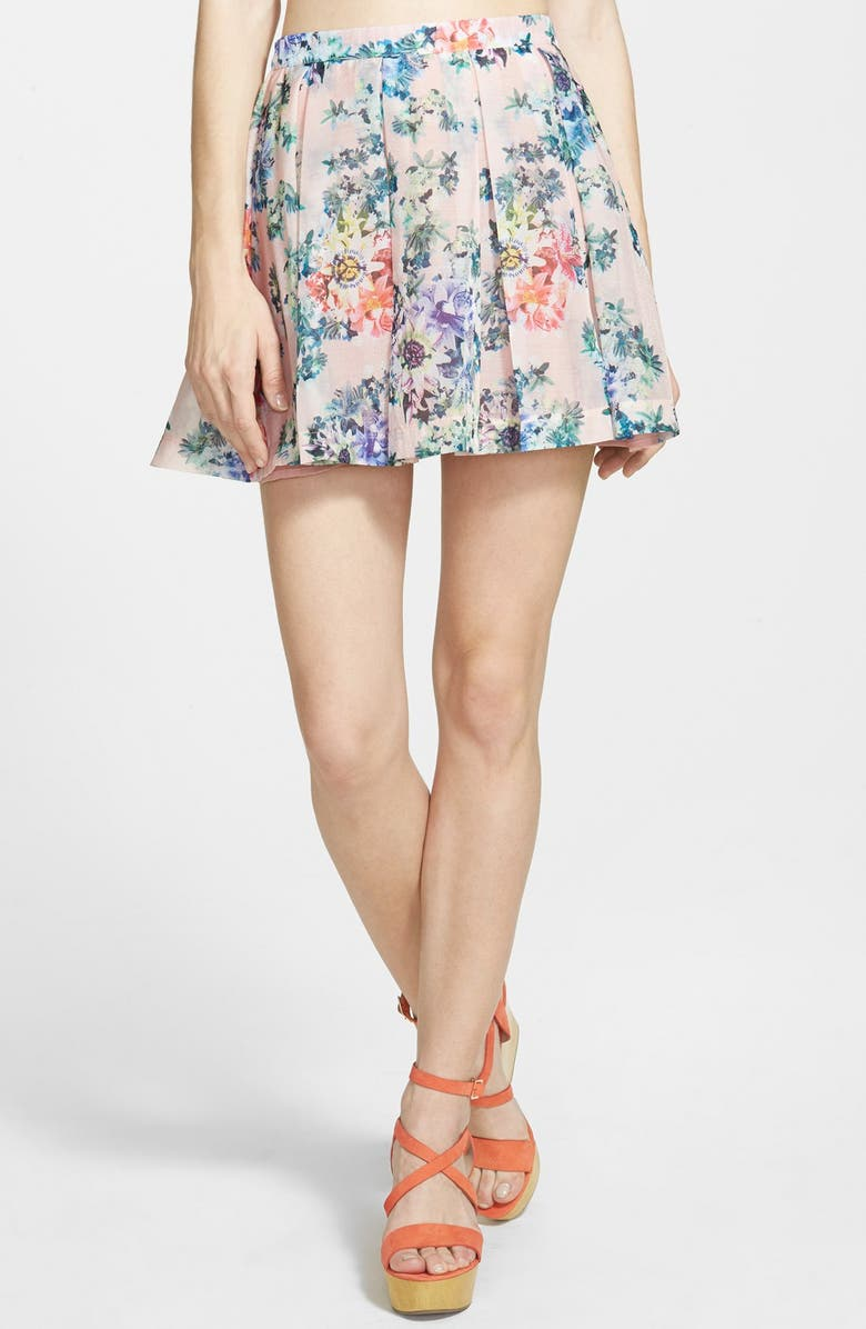 LUCCA COUTURE Pleated Floral Miniskirt, Main, color, 100