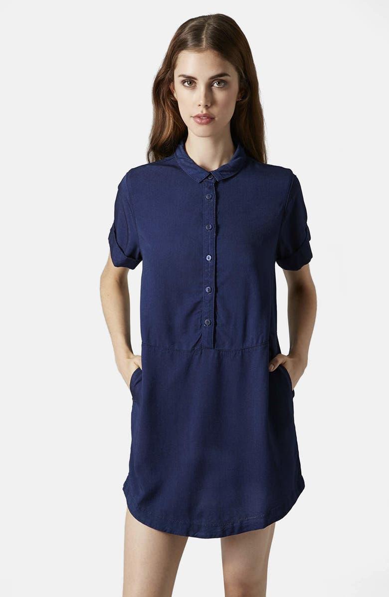 TOPSHOP Denim Shirtdress, Main, color, INDIGO DENIM