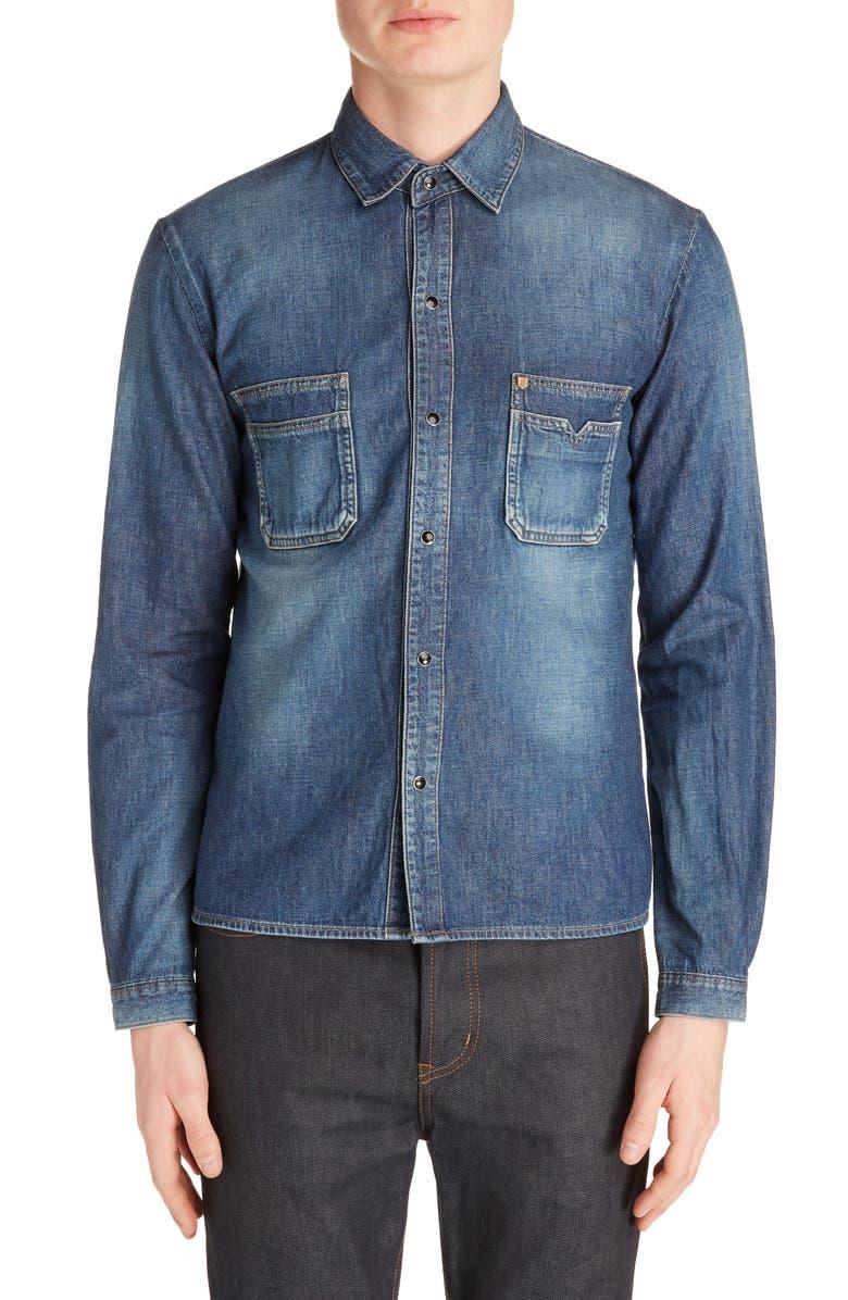 SAINT LAURENT Snap-Up Denim Straight Shirt, Main, color, BLUE