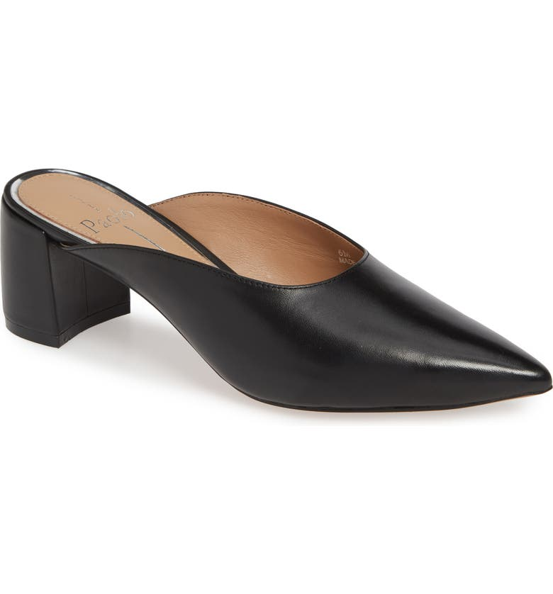 LINEA PAOLO Zadie Pointy Toe Mule, Main, color, BLACK LEATHER