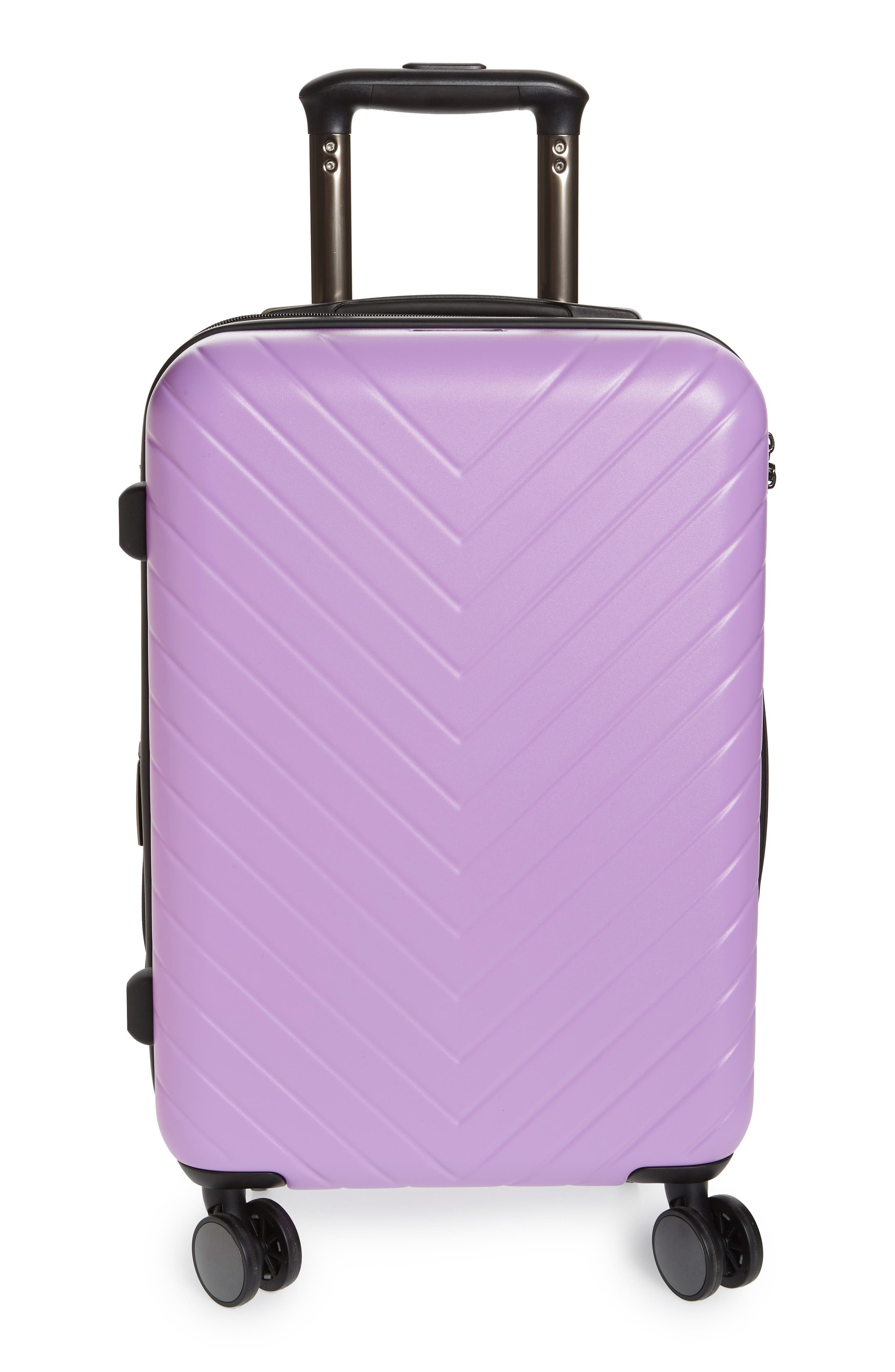 Chevron 18-Inch Spinner Carry-On, Main, color, LAVENDER SWEET