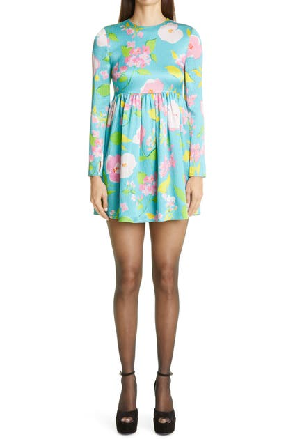 Saint Laurent Mini dresses CRINKLED FLORAL LONG SLEEVE MINIDRESS