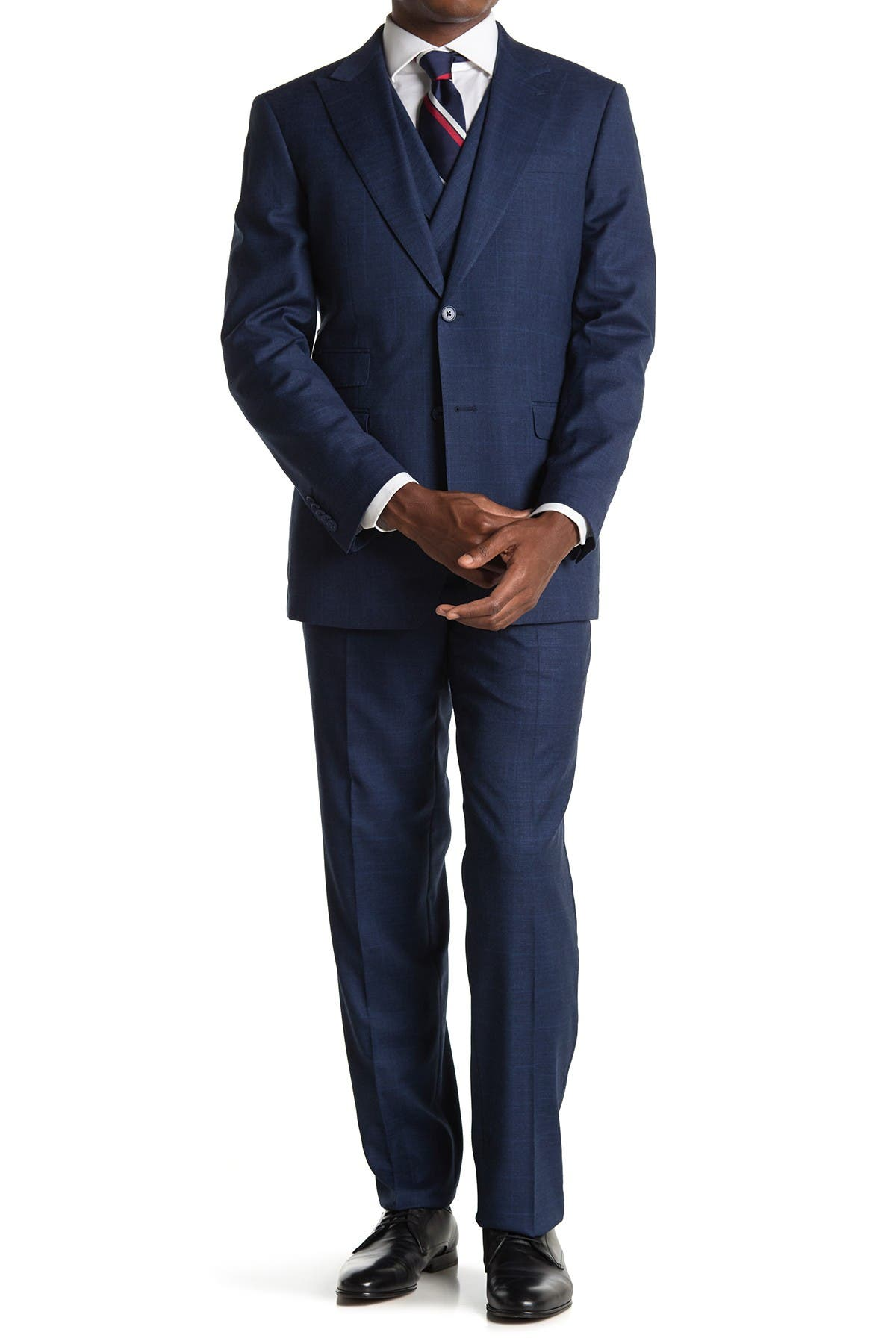 Image of English Laundry Blue Plaid Two Button Peak Lapel Vest Suit