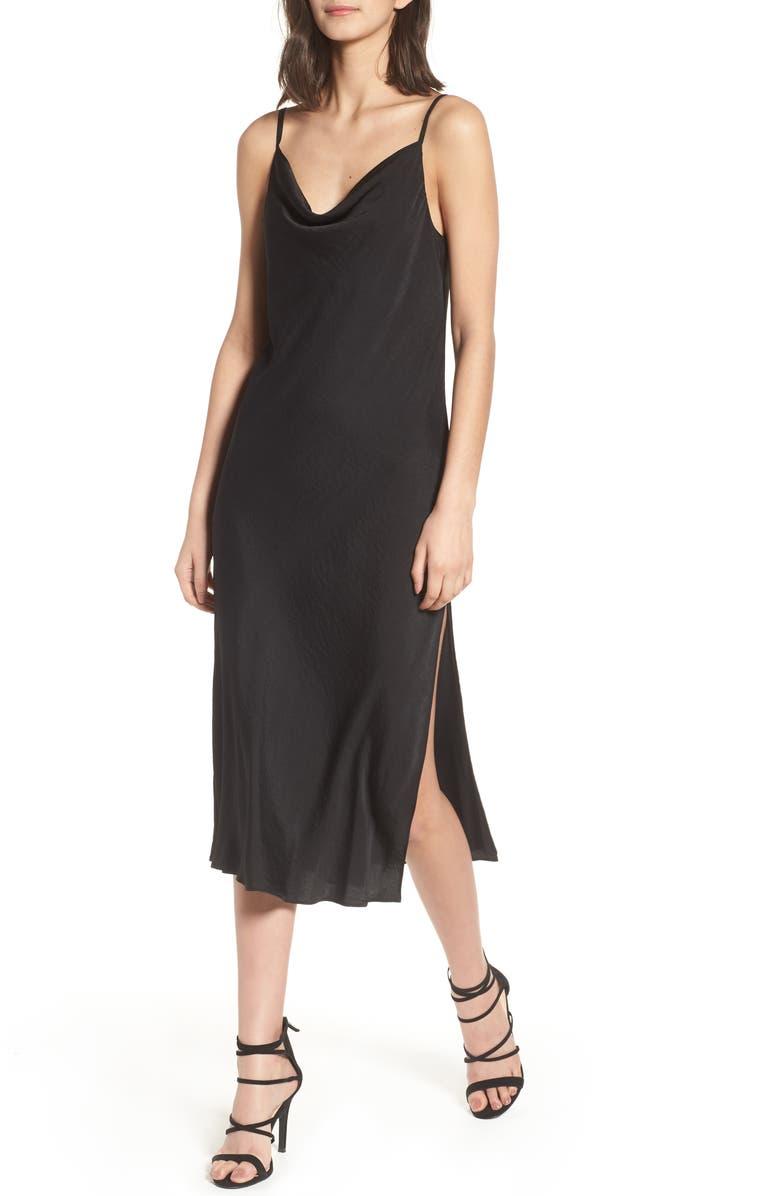 TOPSHOP Cowl Neck Satin Midi Dress, Main, color, 001