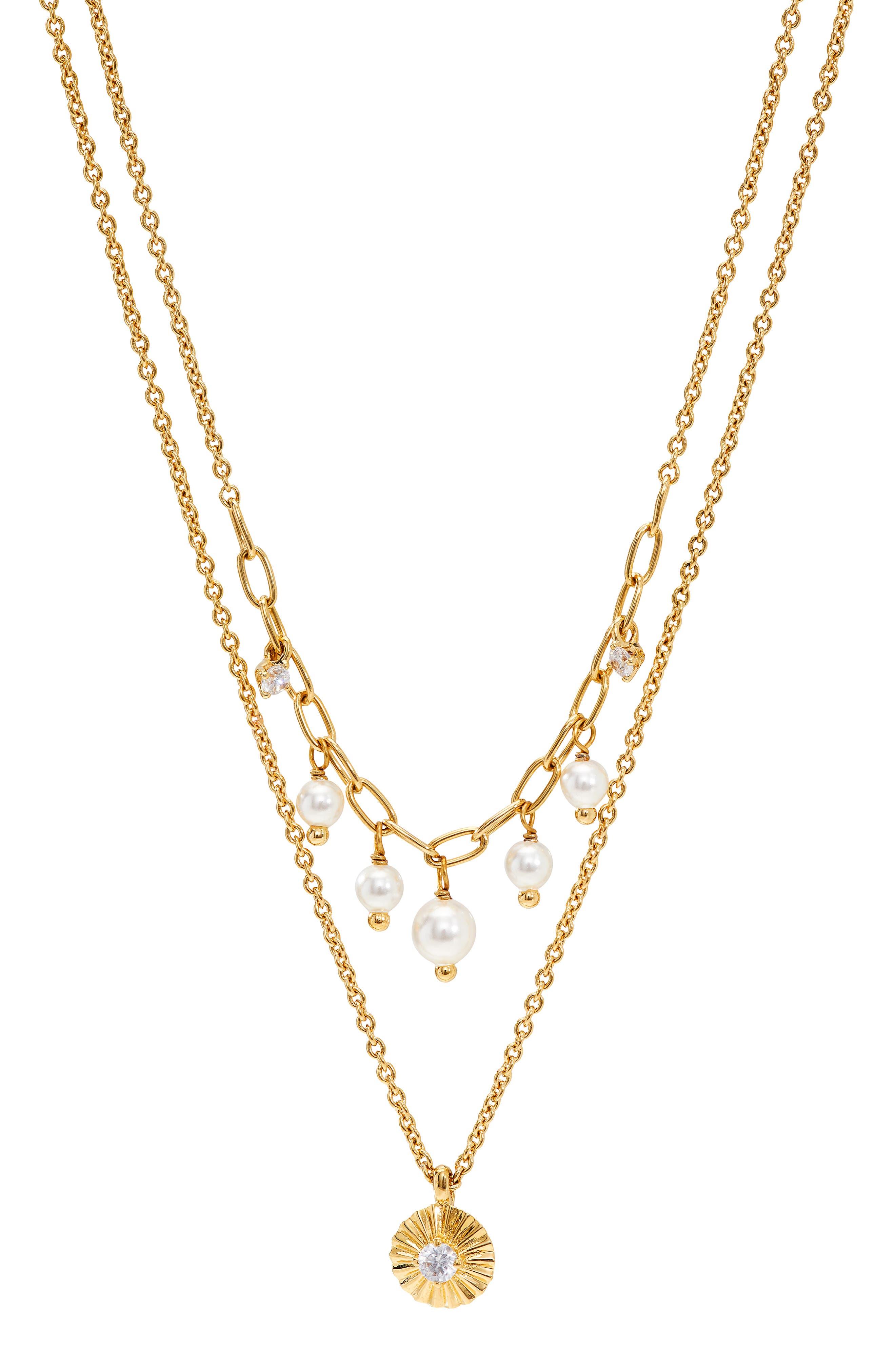 Layered Imitation Pearl Pendant Necklace