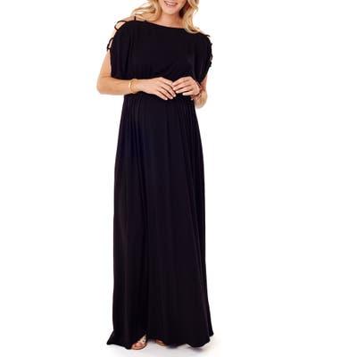 Ingrid & Isabel Smocked Empire Waist Maternity Maxi Dress, Black