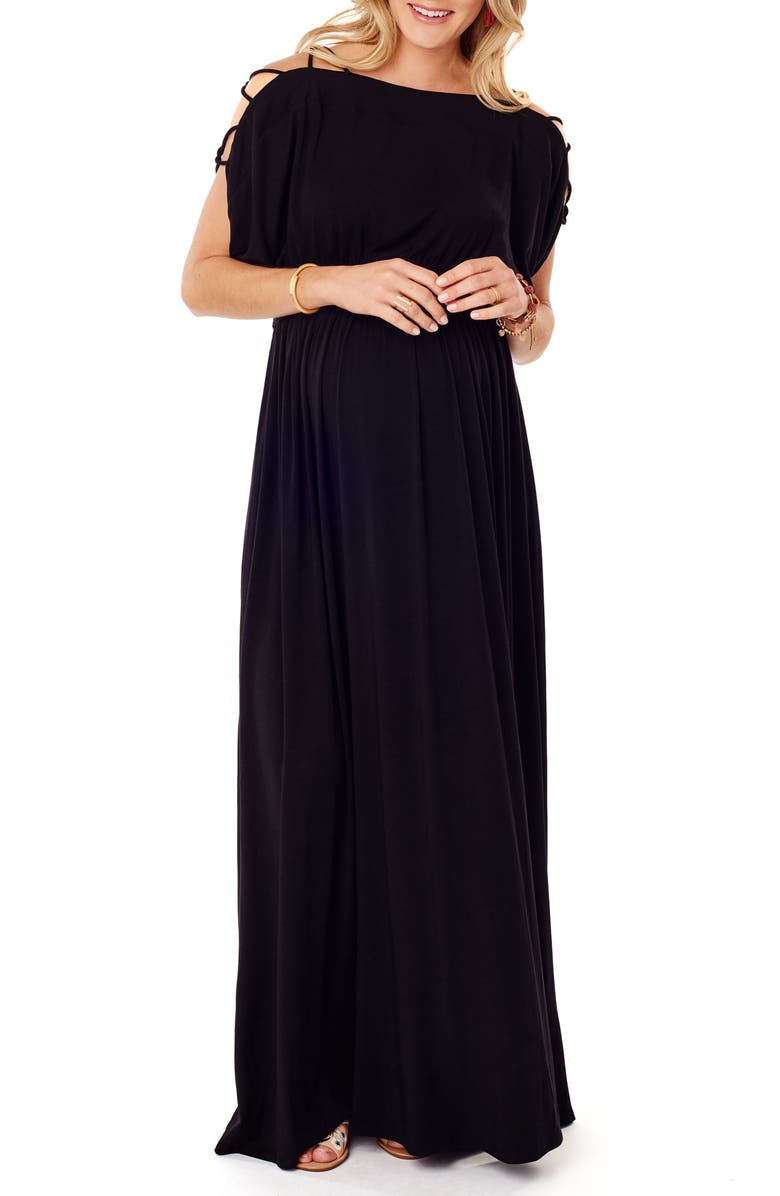 INGRID & ISABEL<SUP>®</SUP> Smocked Empire Waist Maternity Maxi Dress, Main, color, JET BLACK