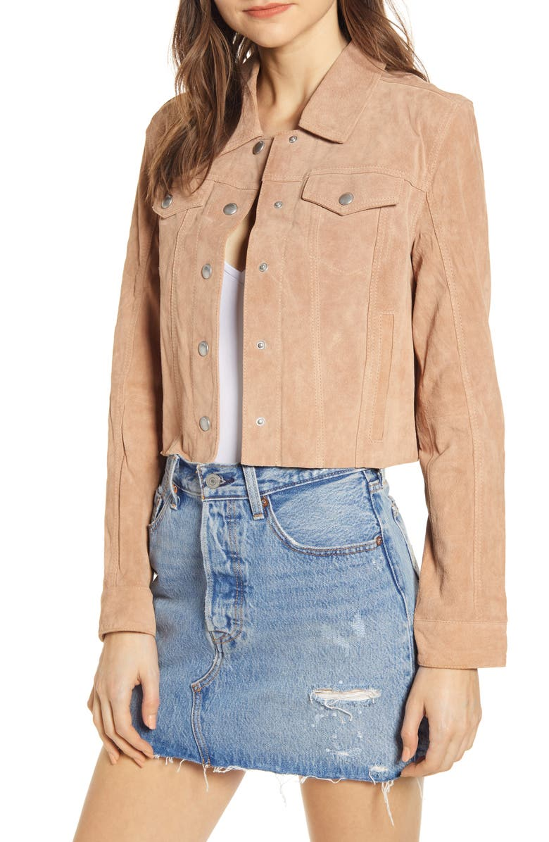 BLANKNYC Crop Suede Trucker Jacket, Main, color, 200