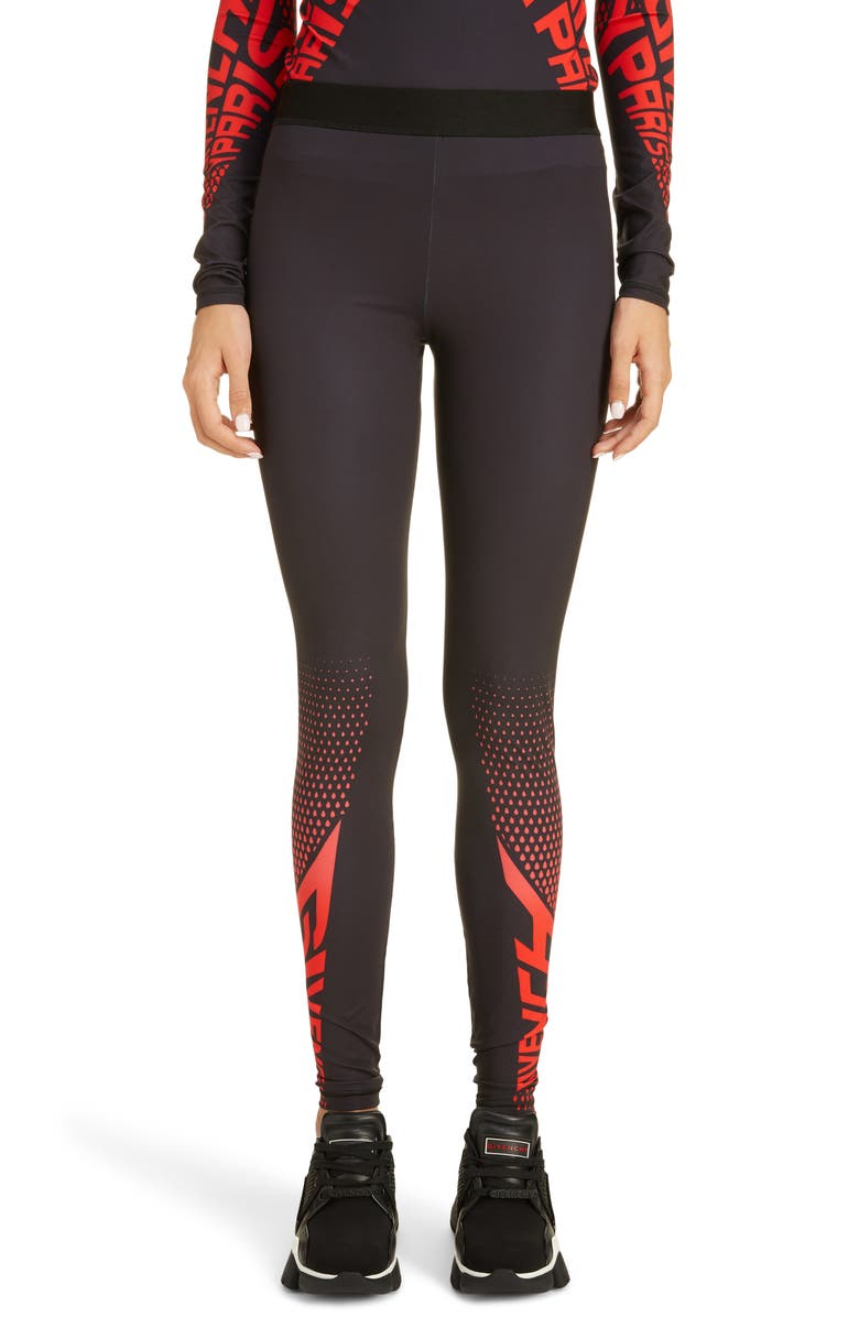 GIVENCHY Logo Leggings, Main, color, BLACK/ RED