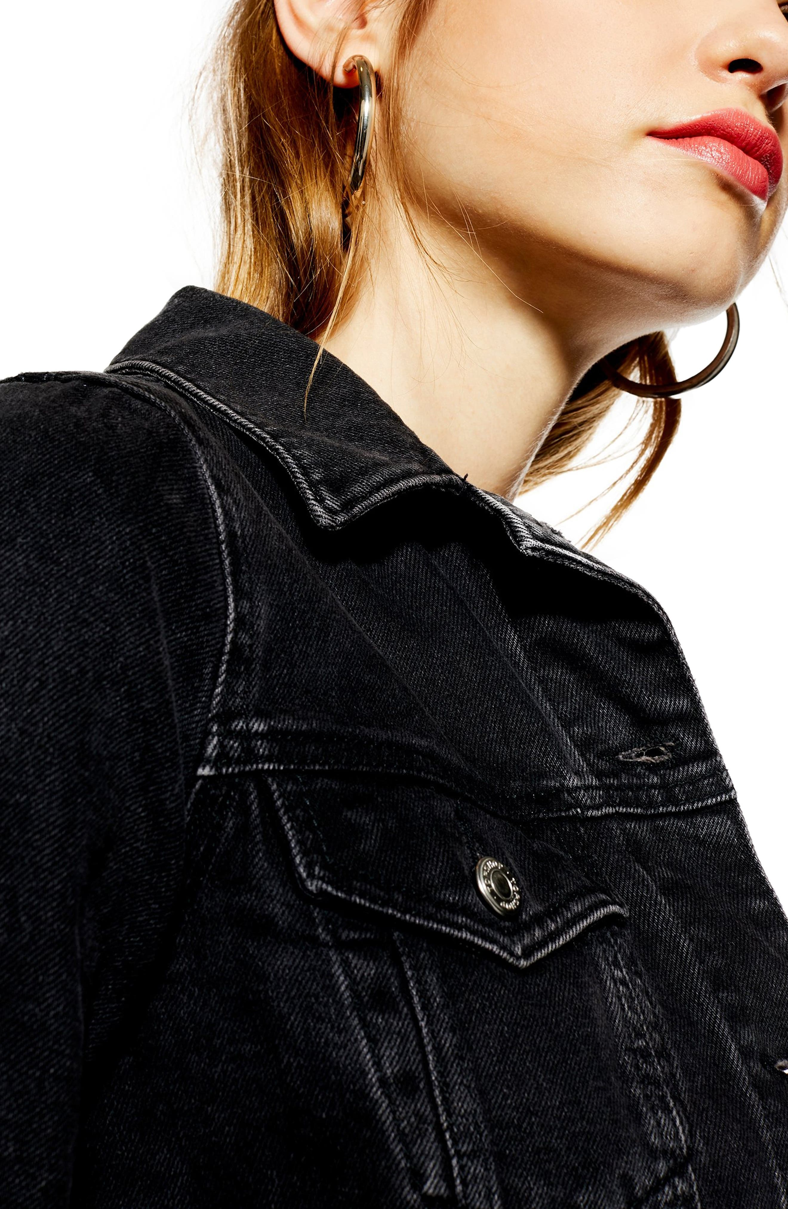 ,                             Fitted Denim Jacket,                             Alternate thumbnail 4, color,                             WASHED BLACK